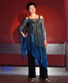 860c7946f1 Společenská tunika hedvábná modrá se stříbrem   Zboží prodejce Radka  Zrůstková. ŠatyMóda