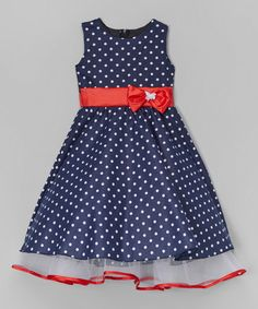 Look what I found on #zulily! Navy Polka Dot A-Line Dress - Infant, Toddler & Girls #zulilyfinds