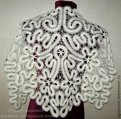 Купить Косынка белая Вологодское кружево - косынка, вязаная косынка, кружево, ручное кружево