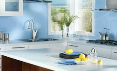 Bring the seashore inside with cool blues and chrome fixutres - soothing and contemporary.