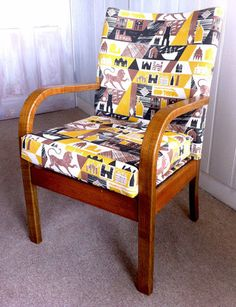 Bentwood chair upholstered in Lionheart by Ed Kluz Simple 3 colourway. Bentwood Chairs, Upholstered Chairs, Wingback Chair, Armchair, Textile Design, Fabric Design, Pattern Design, Typography Love, Types Of Houses