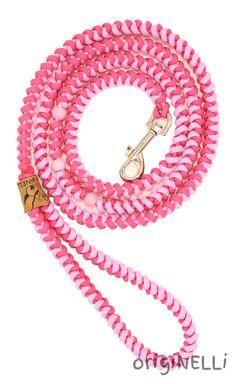 Schmale sehr leichte Hundeleine mit Handschlaufe und Perlenapplikationen - Model Xtream-Pink #Hundeleinen #Hunde #origiNELLi #handmade #paracord #handschlaufe #handarbeit #dogs #dogleash #flechten #Leinen #handgefertigt #handgemacht #pink #xtream