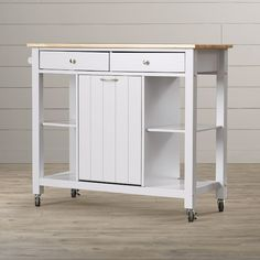 Features:  -Wood.  -Light gray finish.  -Butcher block top.  -Caster included: Yes.  -Waste bin available: No.  Product Type: -Kitchen Cart.  Base Finish: -Gray.  Counter Finish: -Wood.  Base Material