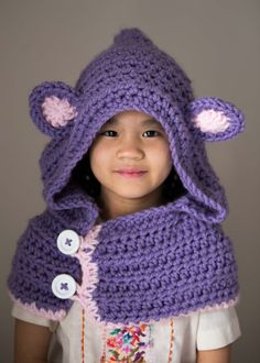 Bear Hooded Cowl, Child cowl, Crochet Bear Cowl, Animal Hat, Bear hat, chunky button up scarf, hood for toddler, child, adult Boys and girls