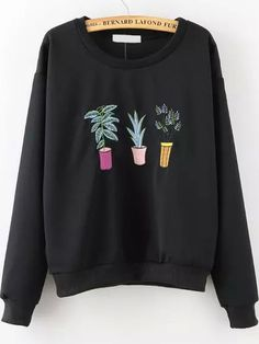 Shop Plant Embroidered Patterned Black Sweatshirt online. SheIn offers Plant Embroidered Patterned Black Sweatshirt & more to fit your fashionable needs.