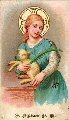 Saint Agnes of Rome, Virgin and Martyr - 21 January Catholic Art, Catholic Saints, Religious Art, Catholic Confirmation, Invader Paris, Boulevard Saint Germain, Vintage Holy Cards, St Agnes, Religious Pictures