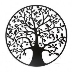 Intricate branches wend around a sleek circle to form the Continental Art Center Rustic Metal Tree of Life Wall Decor 's silhouette of a tree. Leaf Wall Art, Metal Tree Wall Art, Tree Wall Decor, Wall Art Decor, Wal Art, Tree Artwork, Hanging Art, Metal Walls, Illustrations