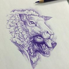wolf in sheep's clothing tattoos Scary Drawings, Trippy Drawings, Tattoo Drawings, Animal Sketches, Animal Drawings, Art Sketches, Bull Tattoos, Animal Tattoos, Black Sheep Tattoo