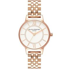 Olivia Burton ladies wonderland timepiece is presented on a stainless steel rose gold bracelet. The stainless steel rose gold case encases a white dial with numeral hour markers. Silver Pocket Watch, Black Leather Watch, Swiss Army Watches, Olivia Burton, Watch Brands, Stainless Steel Case, Rose Gold Plates, Gold Watch, Bracelet Watch