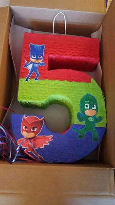 Number pinata inspired by PJ Masks by PinatasUSA on Etsy