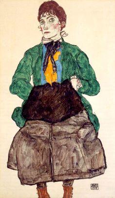 Эгон Шиле «Женщина в зелёной блузе с муфтой»
