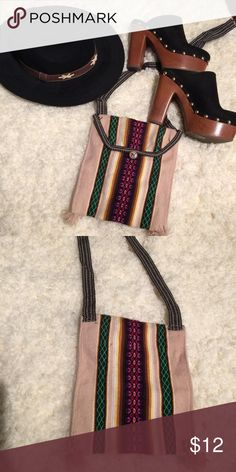 """Woven boho cross over bag Handmade in Peru. Button closure. Can be worn on shoulder or across chest. Strap is about 20"""" long Bags Crossbody Bags"""
