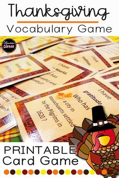 I love teaching about Thanksgiving! This is one of my favorite fall activities in my classroom.  I print out the cards on brown cardstock and use in my reading centers all November long!  My students love this Thanksgiving game! #Thanksgivingactivitiesforelementary #teachingthanksgiving #thanksgivingschool #thanksgivingclassroom #socialstudiesthanksgiving