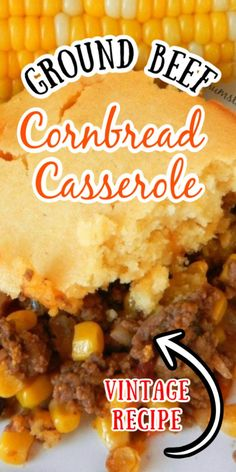 This Easy Ground Beef Cornbread Casserole has turned into a favorite meal with my kids. Flavorful ground beef topped with corn bread makes an easy Tex Mex Casserole even the kids will love! recipes for dinner mexican Ground Beef Cornbread Casserole Meat Recipes, Mexican Food Recipes, Cooking Recipes, Baby Recipes, Oven Recipes, Quick Recipes, Chicken Recipes, Recipies, Ground Beef Recipes For Dinner