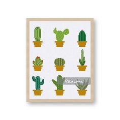 Cactus cross stitch pattern Floss: DMC Colors: 23 Stitch size: 99 x 111 * Suggested fabric and size: Fabric: 14 count Designed area: 7.07 x 7.93 inches ------------------ PDF pattern contains: – Floss Palette – Color Symbol Chart – Black and White Symbol Chart ------------------ Note *