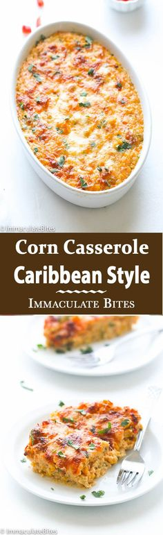 Trinidad Corn Pie - Immaculate Bites - Trinidad Corn Pie – An Irresistible Corn Casserole loaded with tons of flavor and a little heat . Healthy Recipes, Vegetarian Recipes, Cooking Recipes, Casseroles Healthy, Beef Recipes, Potato Recipes, Recipes With Corn, Canned Corn Recipes, Quick Casseroles