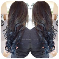 blue Highlights in Brown Hair | Blue steel Ombre Follow @southmarksouth ⬅️⬅️⬅️ | Hair ...