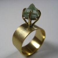 Green Fluorite Octahedron Ring