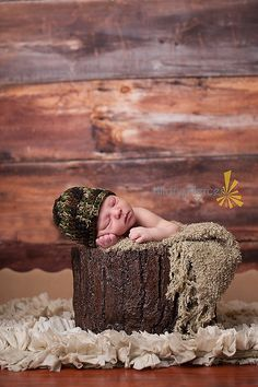 Crochet Newborn Baby Camo Military Hat. $9.00, via Etsy.
