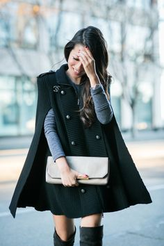 Outfit :: Top :: Pierre Balmain sweater cape Dress :: T by Alexander Shoes :: Gianvito Rossi Bag :: J.Crew Accessories :: Chanel pin, Cartier watch Published: December 28, 2014