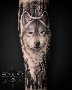Wolf tattoo by Matt Parkin @ Soular Tattoo - Christchurch - New Zealand