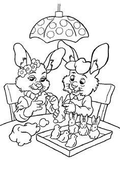 Deux lapins construisant des oiseaux et des lapins avec des pâtes à modeler, à colorier