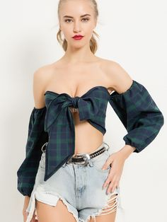 Ballon Sleeve Knot Front Shirred Back Check Bardot Crop Tops