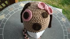 Pink puppy dog hat with braids and a pretty by LOOPseventyseven, $15.00