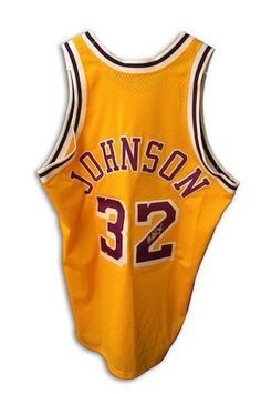 acd73a08 Autographed Magic Johnson Los Angeles Lakers Gold Throwback Jersey with  COA. Jersey is a size