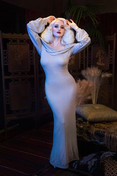 Wassa Long Sleeve Hooded Dress - Grey