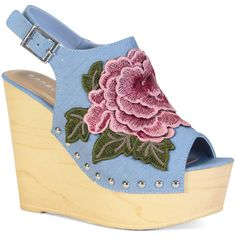 Bamboo Light Blue Floral Woobery Sling-Back Wedge ($27) ❤ liked on Polyvore featuring shoes, sandals, wedge heel sandals, wedges shoes, high heel shoes, bohemian sandals and bamboo sandals