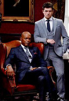 Sam Jackson and Taron Egerton from the movie Kingsman: The Secret Service. Kingsman Suits, Eggsy Kingsman, The Kingsman, Kingsman The Secret Service, Samuel Jackson, Tailor Made Suits, Taron Egerton, Business Portrait, Dane Dehaan