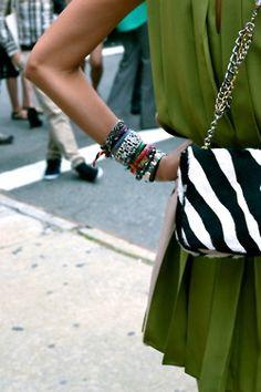 kelly green + zebra stripe combo