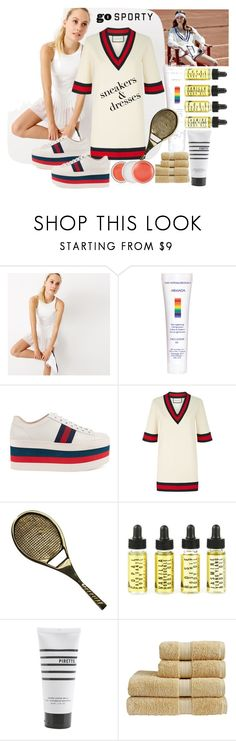 """""""Sporty"""" by archsan ❤ liked on Polyvore featuring New Balance, VMV Hypoallergenics, Gucci, Pirette, Clinique and SNEAKERSANDDRESSES"""