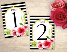 Floral Stripes Printable Table Numbers design No. 290 - personalized table numbers for wedding, bridal shower, baby shower DIY