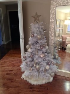 White Christmas tree in the master bedroom