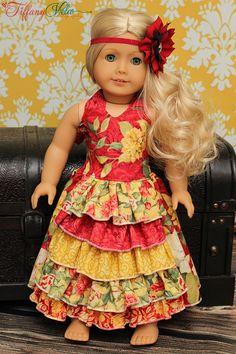"So Cute! Penelope's 18"" Doll Princess Ruffle Dress PDF Pattern by Create Kids Couture"