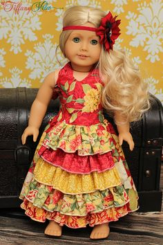 "Penelope's 18"" Doll Princess Ruffle Dress PDF Pattern by Create Kids Couture"