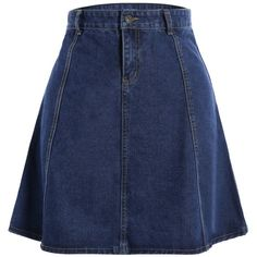 Knee Length Jean Skirt (385 MXN) ❤ liked on Polyvore featuring skirts, bottoms, rosegal, knee length skirts, blue skirt, knee high skirts and blue knee length skirt