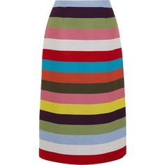 Mary Katrantzou Sigma striped wool-blend twill midi skirt ($965) ❤ liked on Polyvore featuring skirts, green, evening skirts, green pencil skirts, stripe midi skirt, calf length pencil skirts and multicolor pencil skirt