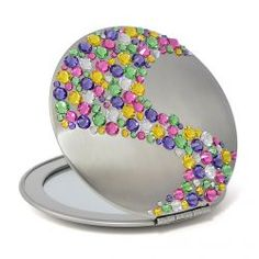 Compact mirror with rainbow crystals