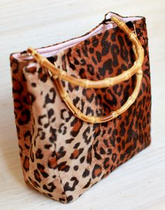 leopard tote | bamboo handle | kayce hughes