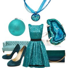 A Teal Christmas! by blukatdesign on Polyvore featuring Christian Pellizzari, Brian Atwood, Elie Saab, Mapleton Drive and Jonathan Adler - Turquoise, Aqua & sea glass blue Z
