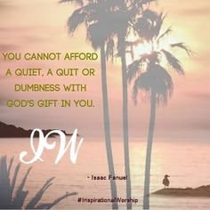 #LearnHowToWorshipGod You cannot afford a quiet a quit or dumbness with God's gift in you. God wants you to use your spiritual gifts to bless others. He wants you to use your gift to glorify him.  Just like Jonah God will send a great fish to vomit you to the purpose of your life. Don't take God's gifts for granted he want you to use them to fulfill his purpose.  Next time don't  complain that you cannot speak for you are a child like Jeremiah did because God is with you and you are not…