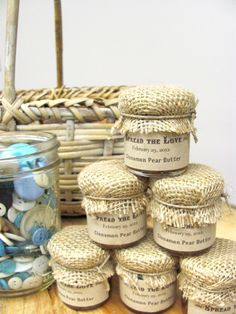 Custom Wedding Favor, Farm Wedding Jam Favors with Burlap Cover 1.5 oz. $3.00, via Etsy.