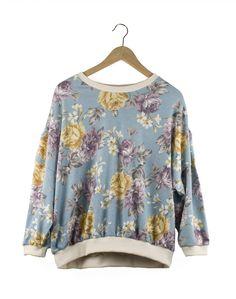 Flower Pattern Purple Sweater