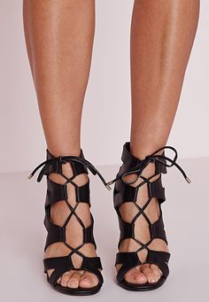 Missguided - Cut Out Lace Up Gladiator Heels Black