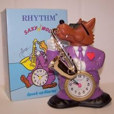 """Found this at a flea market. Never got the alarm figured out, but if you press the heart, it plays a little song of the wolf on the sax and singing """"Hey, hey! Don't you know that you gotta get up, so you can get doooooOOOOOWWWnnn."""" Reminded me of a old Tex Avery thing, and it was five bucks, so hell yes."""