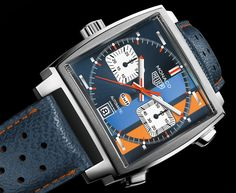 """Tag Heuer's Monaco Gulf Special Edition watch celebrates """"the timeless classic worn by Steve McQueen"""" while driving for Gulf racing in the film. Tag Heuer Monaco, Armani Watches, Swiss Army Watches, Omega Speedmaster, Steve Mcqueen, Luxury Watches For Men, Cool Watches, Men's Watches, Unique Watches"""