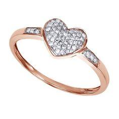 14K Rose Gold Over Round Cut D/VVS1 Diamond Heart Cluster Promise Ring $999 #AffinityFashionJewelry #Cluster #EngagementWeddingAnniversaryPromiseValentines
